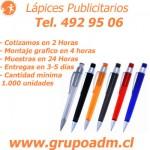 Lapices Publicitarios Promocionales www.grupoadm.cl Tel. 492 95 06