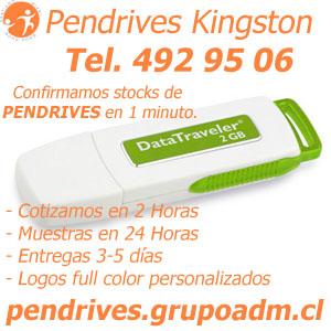 Pendrives Kingston Personalizados 2 GB pendrives.grupoadm.cl Tel. 492 95 06