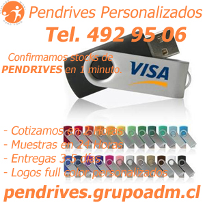 Pendrives Personalizados al por mayor www.grupoadm.cl Tel.492 95 06