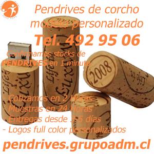 Pendrives Personalizados de corcho www.grupoadm.cl Tel. 492 95 06